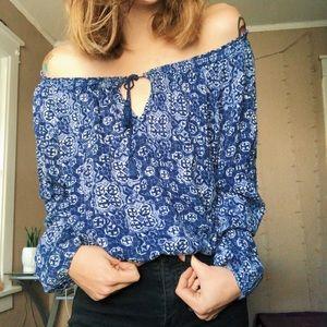 Blue Floral Blouse
